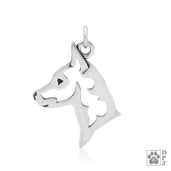 Miniature Pinscher, Head pendant - 925 recycled Sterling Silver