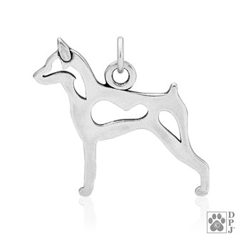 Miniature Pinscher, Body pendant - 925 recycled Sterling Silver
