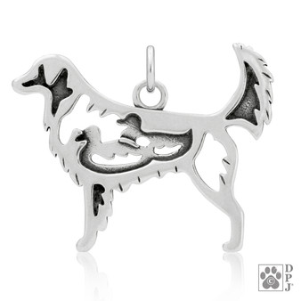 Nova Scotia Duck Tolling Retriever w/Ducks, Body pendant - 925 recycled Sterling Silver