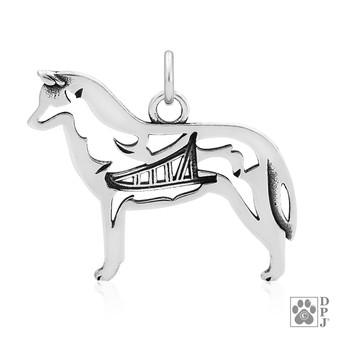 Siberian Husky with sled in body, Siberian Husky body pendant, Husky sterling silver necklace