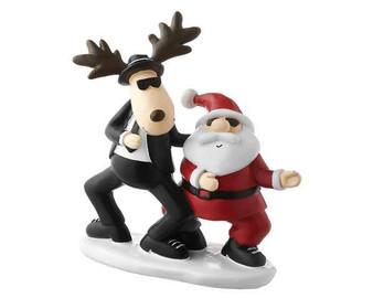 Mila Cool Blues Moose Dancing with Santa -18 cm
