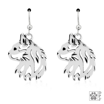 Cat Head - 925 recycled Sterling Silver Earrings