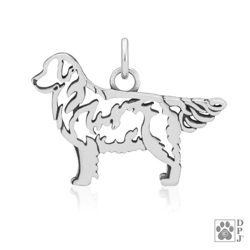 Golden Retriever Body Pendant - recycled .925 Sterling Silver