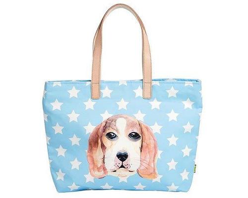 Ginger Shopping Bag - Hound Dog - blue with stars