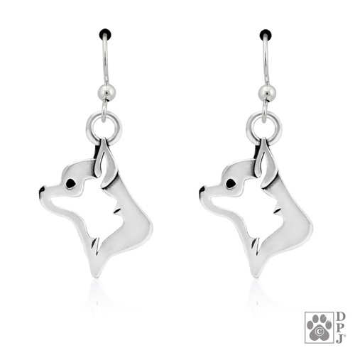 Chihuahua Smooth Coat Head Earrings- recycled .925 Sterling Silver