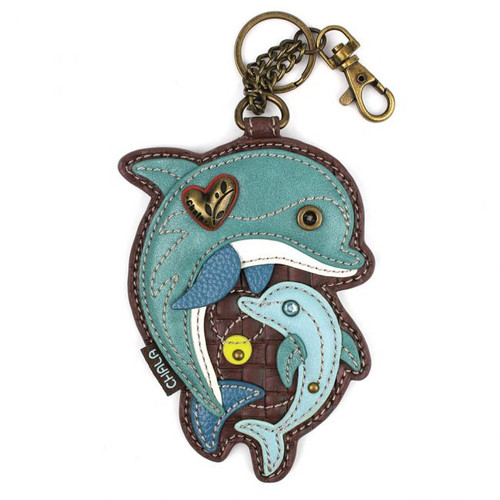 Key Ring/Bag Charm with coin purse - Dolphin - Faux Leather