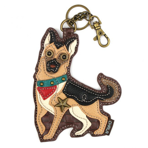 German Shepherd - Keyring/Bag Charm  with zipper coin purse