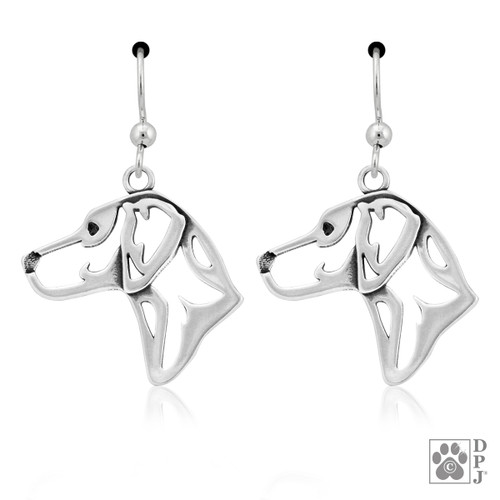 Rhodesian Ridgeback Heads - recycled .925 Sterling Silver Earrings