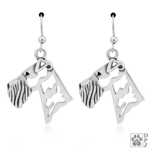 Airedale, Heads - recycled .925 Sterling Silver Earrings