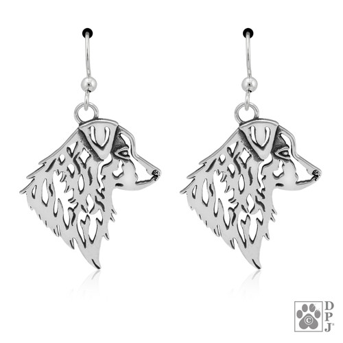 Australian Shepherd, Heads - recycled .925 Sterling Silver Earrings
