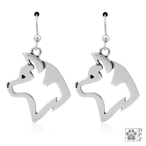 Akita, Heads - recycled .925 Sterling Silver Earrings
