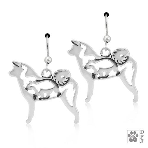 Akita with bear in Body - recycled .925 Sterling Silver Earrings