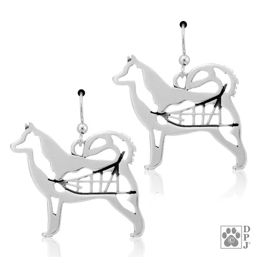 Alaskan Malamute Body - recycled .925 Sterling Silver Earrings