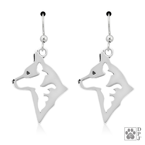 Australian Cattle Dog Heads - recycled .925 Sterling Silver Earrings