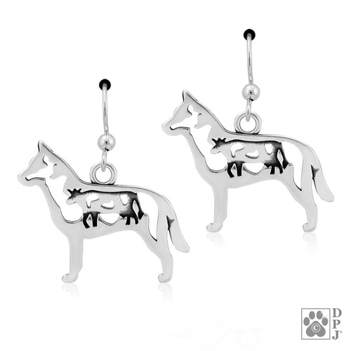 Australian Cattle Dog Body w/Cow - recycled .925 Sterling Silver Earrings