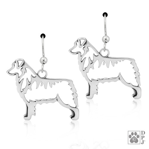Australian Shepherd Body - recycled .925 Sterling Silver Earrings