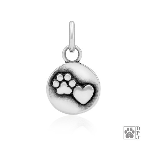 Close to my Heart Pendant - recycled .925 Sterling Silver - Paw and Heart