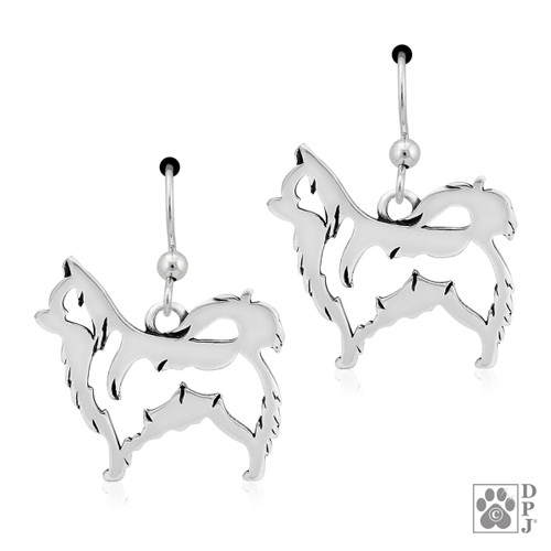 Chihuahua Long-haired - Body Earrings- recycled .925 Sterling Silver