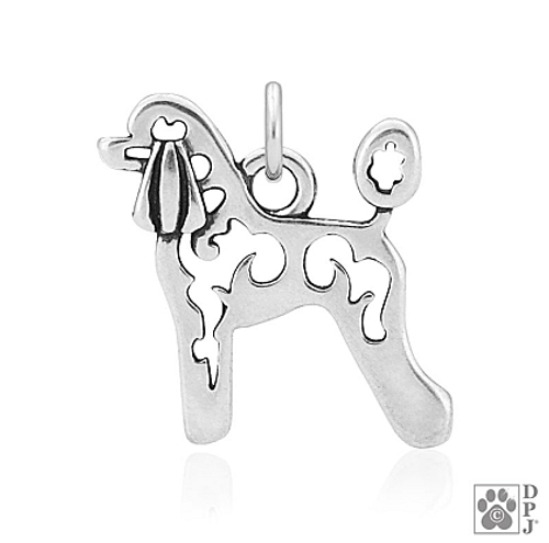 Poodle, Lamb Cut, Body pendant - recycled .925 Sterling Silver