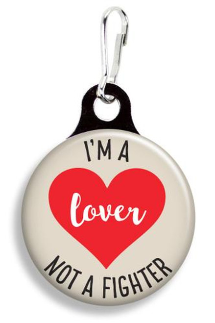 Collar Charm - I am a lover not a fighter - Franny B Good - for Cats or Dogs