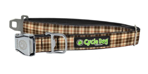 Cycle Dog - Tan Plaid - Dog Collar - Medium (30-53 cm) 13.5 - 34 kg