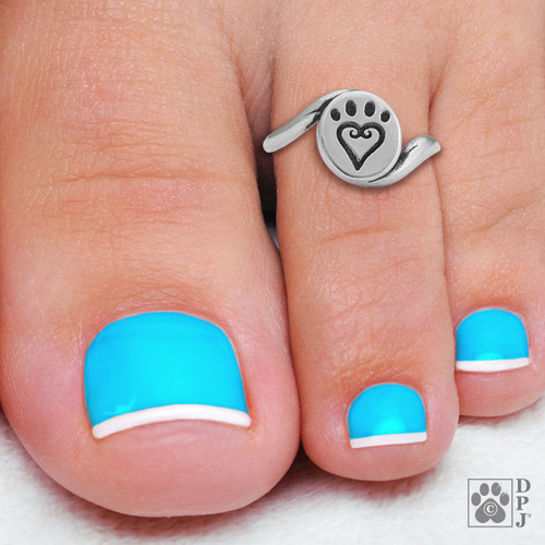 Toe Ring - Etched into my heart -  recycled .925 Sterling Silver