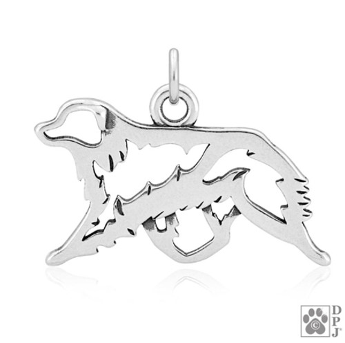 Australian Shepherd, Gaiting,  Body pendant - recycled .925 Sterling Silver