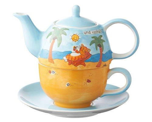 Cat Tea for one Set - Cat on the Beach - 400 ml - ceramic - hand painted
