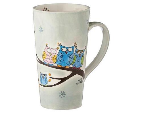 Owl Family Cafe Latte Mug -  350 ml - ceramic - hand painted - Mila