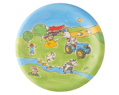 Farm Plate - hand painted - ceramic - Mila