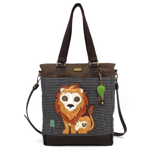 Lion - Work Tote -  blue stripes - Canvas and Faux Leather