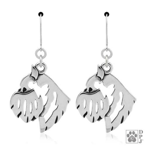 Brussels Griffon head earrings - recycled .925 Sterling Silver