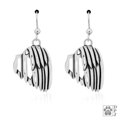 Havanese head earrings - recycled .925 Sterling Silver