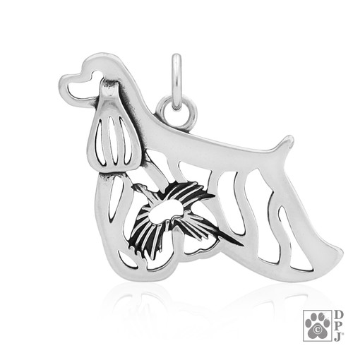 Cocker Spaniel Pendant with Pheasant in body - recycled .925 Sterling Silver