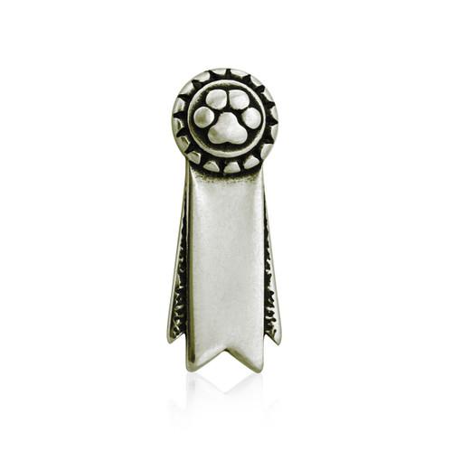 Ribbon Paws Rosette Pin / Tie Tack - White Bronze