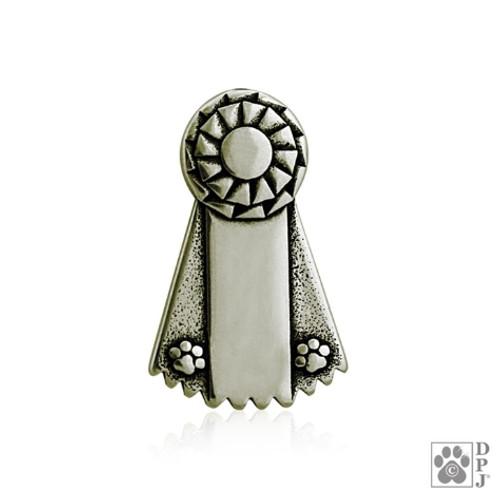 Ribbon Paws Pin / Tie Tack - White Bronze