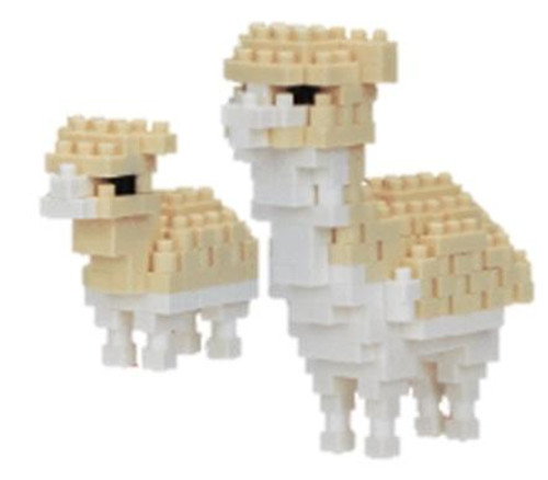 nanoblock Alpaca with Baby figures assembled