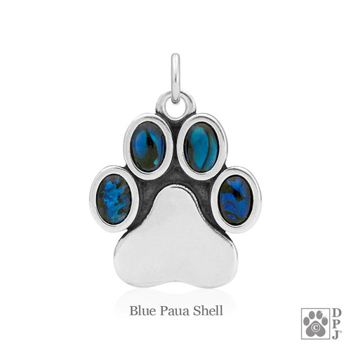 Ultimate Pawfection pendant with Blue Paua stones - .925 Sterling Silver