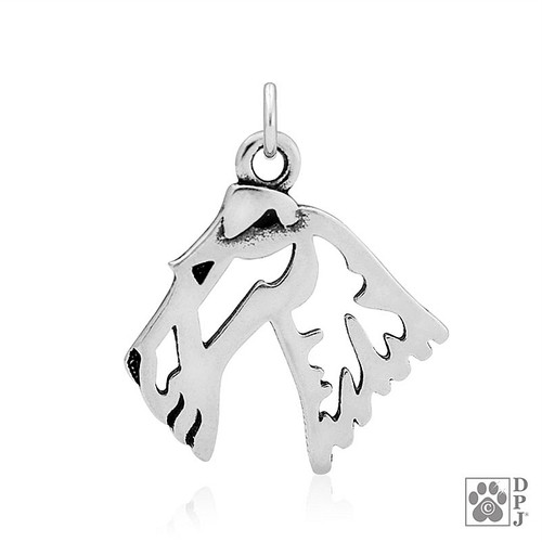 Wire Fox  Terrier, Head - Pendant - recycled .925 Sterling Silver