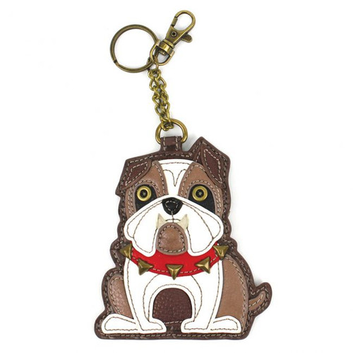 Keyring/Bag Charm with coin purse - Bulldog - Faux Leather