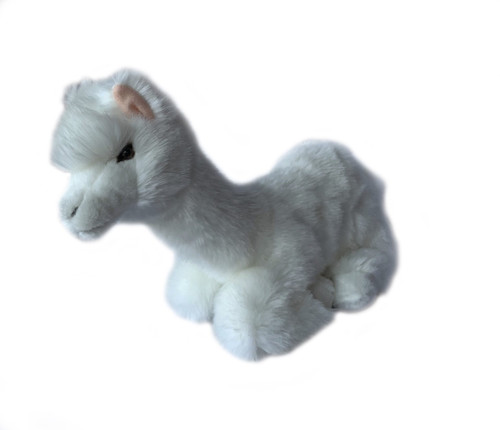 Alpaca plush toy, sitting, white