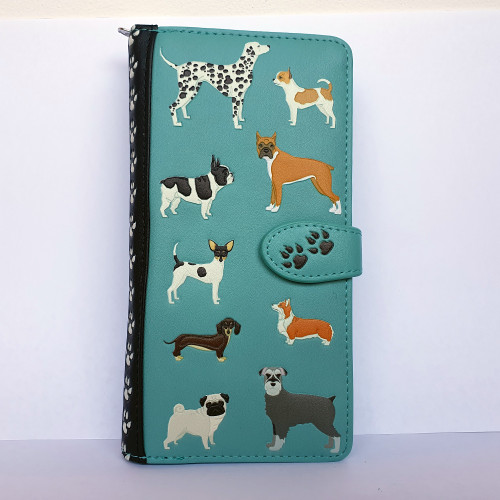 Dogs Dogs Dogs - Large Wallet - Teal - Faux Leather