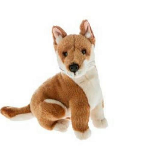 red-white plush toy, sitting, Dingo Dog