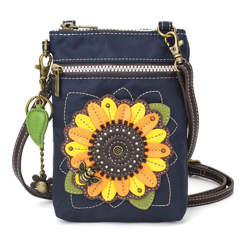 Bee on Sunflower - CV-Venture mobile phone xBody Bag - Navy  - Nylon/ Faux Leather