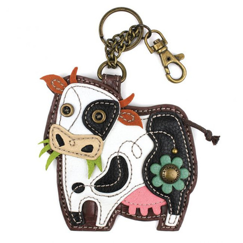 Keyring/Bag Charm with coin purse -Cow - Faux Leather