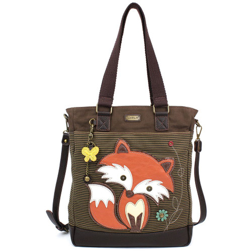 Fox - Work Tote -  brown stripes - Canvas and Faux Leather