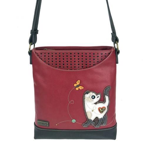 Slim Cat - Sweet Messenger Bag - burgundy - Faux Leather