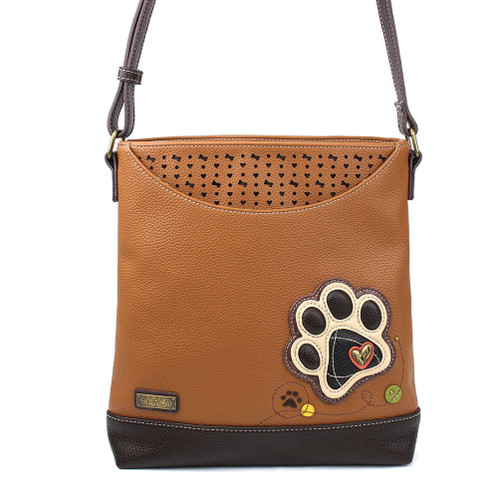 Paw print - Sweet Messenger Bag - Brown - Faux Leather