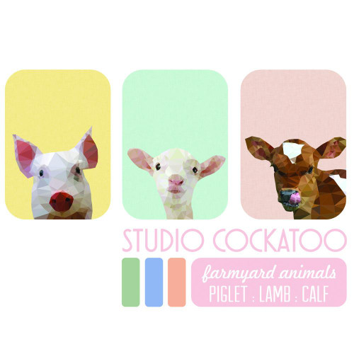Farmyard Animals  3 x Art prints gift pack - size A4 - made in Australia