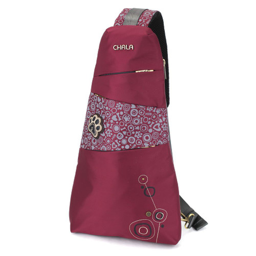 CV-Ecape Sling Backpack - Pawprint - burgundy - Nylon